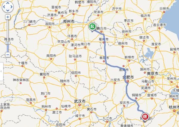 睢县到黄山自驾车路线图